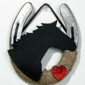 Leather horsehead horseshoe, Valentines decor , Western Decor Rustic theme, Farm Decor, Rustic home decor