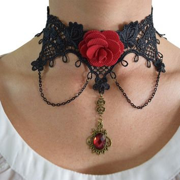 Vintage Victorian Gothic Dark Side Love Black Lace Choker Necklace
