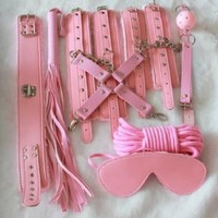 friendshops 8 Pcs a Set Pink Bondage Restraint Kit Bdsm Sex Toy Cuffs Chop