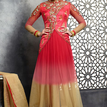 Red and Beige Georgette Abaya Jacket Style Anarkali Suit