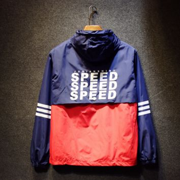 Couples hooded charge half waterproof zipper tooling jacket Blue red