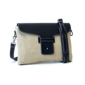 No. 08L Platypus, Satchel, Natural Cream Waxed Canvas, Navy Leather