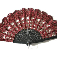 Carnival lace hand fan in DEEP SHINY RED,Goth style accesory halloween gadget,steampunk,gothic,spanish wedding,black red wedding accessory