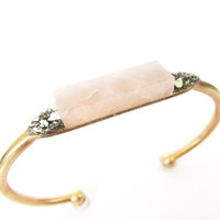 Bridal Jewelry// Rose Quartz Cuff Bracelet// Bridesmaid Gift //Raw Crystal Bracelet