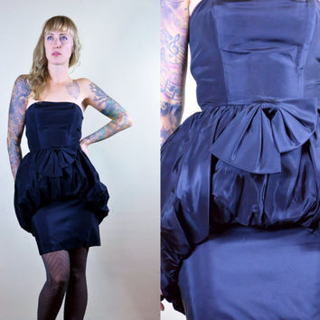 Vintage 60's Roberta California Avant Garde Black Strapless Cocktail Dress