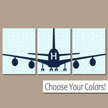 AIRPLANE Wall Art, Canvas or Prints Baby BOY Nursery Decor,  Plane Decor, Airplane Theme, Fly Transportation Set of 3 AIRPLANES Wall Decor