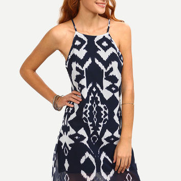 Trendy Boho Navy Ethnic Print Summer Back Tie Dye Print Cami Dress