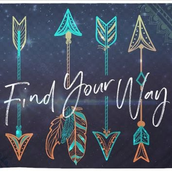 Find Your Way Quote Tapestry Wall Hanging Meditation Yoga Grunge Hippie Wanderlust