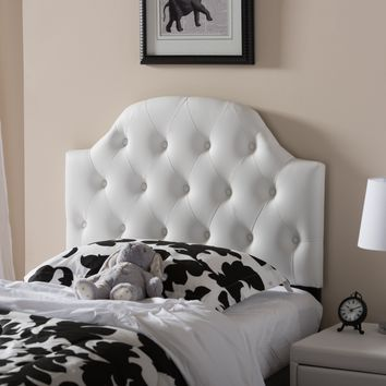 Baxton Studio Morris Modern and Contemporary White Faux Leather Upholstered Button-Tufted Scalloped Twin Size Headboard  Set of 1