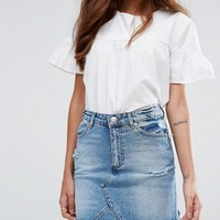 Miss Selfridge Denim Mini Skirt at asos.com