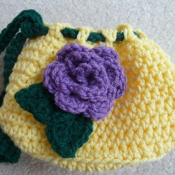 Crochet Bag - Yellow Mini Drawstring Bag with Purple Rose Detail - Easter or Spring Accessory
