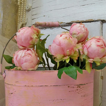 Rusty pink bucket shabby chic farmhouse zinc pail with with 9 peonies home decor piece anita spero