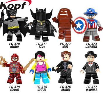 Super Heroes Single Sale X-Men Panther Batman Jubilee Marvel Cowboys America Red Flash Building Blocks Children Gift Toys PG8088