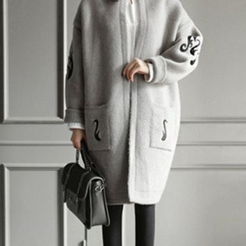 Cloud Pattern Women Long Style Fashion Knitted Cardigan Sweater Knitwear Coat Outwear Coat