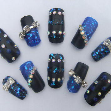 Blue Vinyl Matte glitter diamond Japanese Lolita goth gyaru full false 3D nails Super glam bling