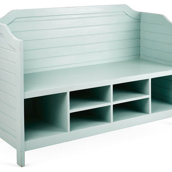 Beach House Storage Bench, Ocean Aqua, Entryway Bench