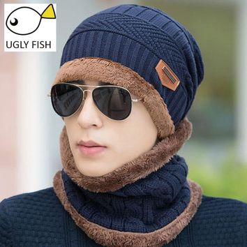 Neck warmer winter hat knit cap scarf cap Winter Hats For men knitted hat men Beanie Knit Hat Skullies Beanies