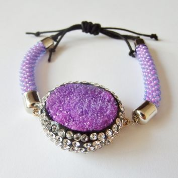 Purple Druzy Agate Bracelet with Crystals, Bead Crocheted, Adjustable.