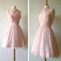 1960s PINK Chiffon Dress/ 60s Flare Party Dress / Miss Theme of New York / Waist 30 Inches