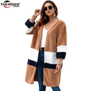 Trendy Winter Teddy Bear Jacket Women Fashion Faux Fur Streetwear Warn Elegant Long Coat Female 2018 Casual Autumn Coat Outerwear AT_94_13
