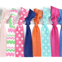School Hair Ties - Preppy Hair Elastics  - Chevron, Polka Dot Ponytail Holders - Girls Birthday Present - Foldover Hair Ties