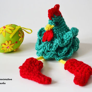 ROOSTER Crochet Easter egg decorations, cozy Chicken egg warmers, egg cover ,crochet egg covers ,egg cozy chickens, hat chicken