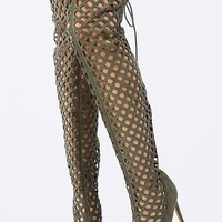 Peep Toe Laser Cut Thigh High Boots