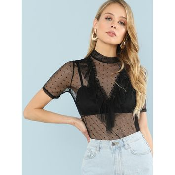 Mock Neck Polka Dot Mesh Sheer Top