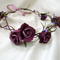Purple Flower Hair Crown, Plum Wedding Hair Accessory, Boho Bridal Crown, Plum Rose Crown, Rustic Hair Wreath