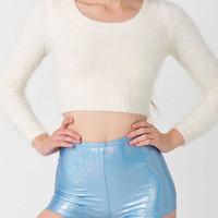 Beige Mohair Long Sleve Cropped Sweater