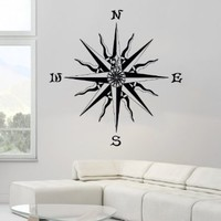 Nautical Compass Rose Bathroom Sea Ocean Marine Wall Vinyl Decal Art Sticker Home Modern Stylish Interior Decor for Any Room Smooth and Flat Surfaces Housewares Murals Window Graphic Bedroom Living Room (3671)