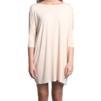 Cream Piko Tunic Half Sleeve Dress
