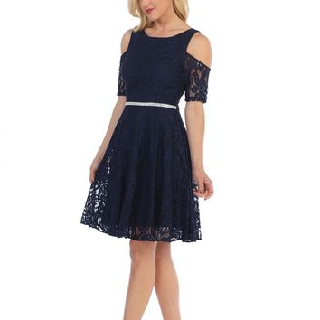 Short Formal Lace Wedding Guest Dress