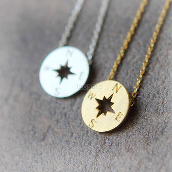 Compass Necklace / choose your color, gold and silver, friendship necklace