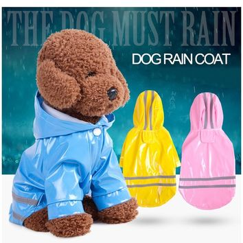 T-MENG New Dog Raincoat Waterproof Hooded Dog Clothes Rain Coat For Small large Puppy Pet Rainy Reflective Strip Pet Dog Clothes