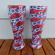 red white and blue hydrodipped pilsner glasses
