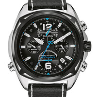 Bulova Mens Silver-Tone and Leather Chronograph Watch