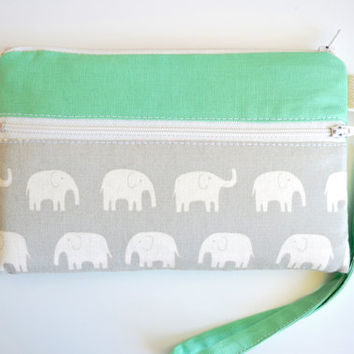 Phone Wristlet, Phone Wallet, Phone Case with Strap, iPhone 6 Bag, iPhone 6 Sleeve - Elephants