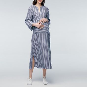 Striped Maxi Long Dress 2017 Autumn Pregnant Women Casual Loose V Neck Full Sleeve Floor-length Vestidos Maternity Clothings 5XL