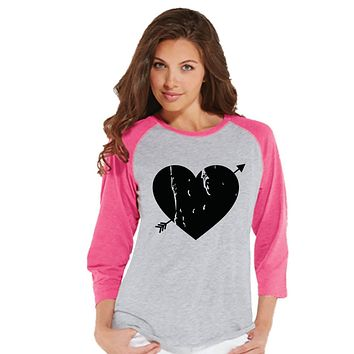 Ladies Valentine Shirt - Womens Heart Arrow Shirt - Valentines Gift for Her - Cupid Shirt - Rustic Happy Valentine's Day - Pink Raglan Shirt
