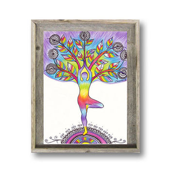 Tree Pose Asana Yoga Silhouette INSTANT DOWNLOAD, Original Drawing Yoga Poster, Rainbow Colors Spiritual Vibrant Art, Yoga Wall Decor