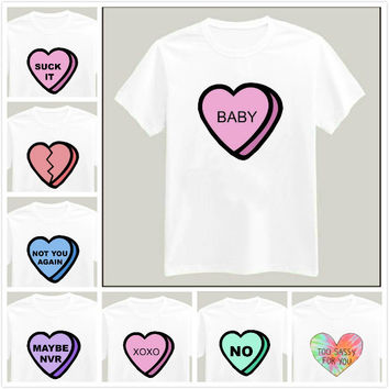 Harajuku Heart Letters Print Women Tshirt Latest Shirt Hipster Casual Cotton For Big Top Tee Camiseta Drop Ship BZ205-92