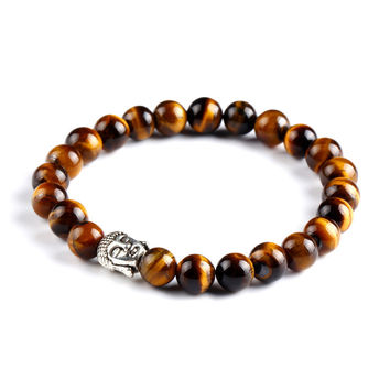 Buddha Natural Stone Beads Bracelet (Gold)
