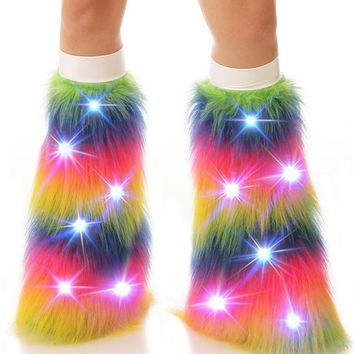 Rainbow LED Light Up Fluffies : Camo Pattern Fluffy Legwarmers from Indyglo