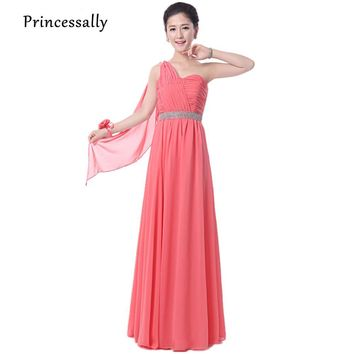 Coral Bridesmaid Dress Long Chiffon One Shoulder Sweetheart Vestidos De Formatura Cheap Formal Prom Graduation Dress Under $50