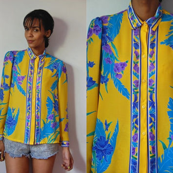Vtg Retro Floral Print Yellow Tropical Button Up LS Shirt
