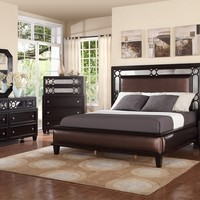 Mc Ferran B372 5 pc melrose collection espresso finish wood and bonded leather upholstered and mirror edge headboard bedroom set