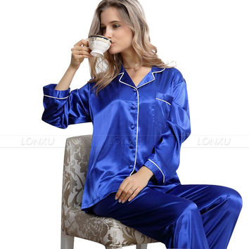 Womens Silk Satin Pajamas Set  Pajama Pyjamas  Set  Sleepwear Loungewear XS S M L XL 2XL 3XL__Gifts