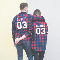 Bonnie 03 Clyde 03 Plaid Shirts, Matching Plaid Shirts, Couples plaid shirts, Couples Bonnie 03 Clyde 03 plaid shirts