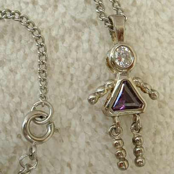 Sterling Silver February Birthday Pendant Necklace Amethyst Rhinestone Jewelry